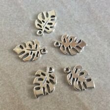 Antique Silver,Monstera Leaf Charms, 13x18mm, 5pcs, Jewellery Making, and Craft