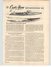 1957 PAPER AD Cruis Along 22' Sportster Maxim Silencer Motorboat Boat Engines