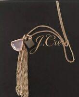 NWT J Crew Milky stone tassel pendant Gold Necklace