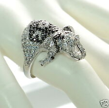 Solid 925 Sterling Silver Black and White CZ Elephant Cocktail Ring Size-7 '