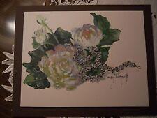 Orig.White Rose Flower Rhinestone Necklace Still life Sally Millspaugh Painting