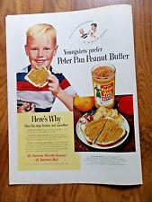 1950 Derby Peter Pan Peanut Butter Ad   Blond Hair Little Boy
