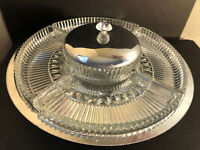 Vintage 1950's KROMEX Rotating Lazy Susan Dip Appetizer Chrome Glass Tray Dish