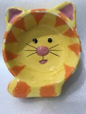Hand Painted Large Ceramic Feeding Bowl Dish Orange Cat Head Preowned With Chips