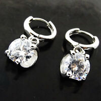 Earrings Real 925 Sterling Silver S/F Huggie Diamond Simulated Dangle Design