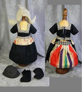 "Antique 15"" Bisque Doll German Dutch Factory Outfit!"