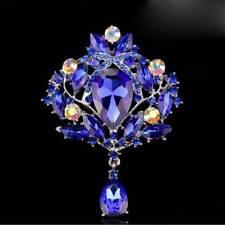 Water Drop Luxury Rhinestone Crystal Wedding Bridal Alloy Pin Brooch Jewelry Blue