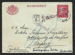 Sweden 1932 lettercard to Germany wiith Postage Due Tax hs etc