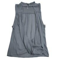 Free People Gray Sleeveless Metal Circle Hook High Neck Draped Blouse Shirt Top