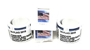 Two Rolls x 100 = 200 of 2019 US FLAG USA Forever Postage Stamps Case Dispenser