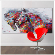 Wall Picture Poster Inspiration Beautiful Running Horses Colour Animal Art Wild