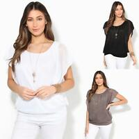 Womens Ladies Cold Shoulder Top Batwing Baggy Chiffon Blouse 2in1 Cape Necklace