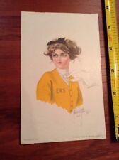 1910 EHS Football Cheerleader Post Card yellow sweater postcard