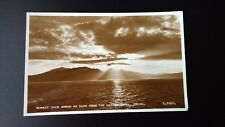 Sunset Over Arran As Seen From Marine Hotel Troon Vintage Postcard