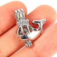5Pcs Silver Plated 3D Whale Pearl Beads Cage Pendant DIY Jewelry Craft Accessory