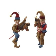Cowboy Christmas Elf Resin Ornaments Set 2 5in rzchca 3607045 New RAZ