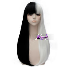 65CM Black Mix White Straight Hair for Cruella Deville Lolita Cosplay Wig + Cap