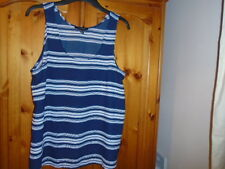 Navy blue and white stripe sheer sleeveless top, ATMOSPHERE, size 16, NEW