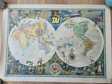 More details for original vintage french tai planisphere aviation poster