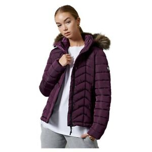 Superdry Womens Luxe Fuji Padded Jacket Size 8 Padded Purple