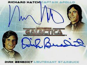 BATTLESTAR GALACTICA - RICHARD HATCH & DIRK BENEDICT AUTO - RITTENHOUSE - WOW!