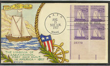 SCOTT 1069 SHIP BUILDING RALPH DYER HAND PAINTED FIRST DAY COVER PLATE BLOCK