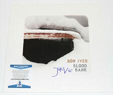 BON IVER SIGNED 'BLOOD BANK' ALBUM VINYL RECORD EP JUSTIN VERNON BECKETT COA BAS