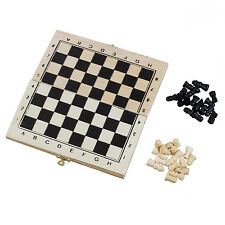 HE Foldable Wooden Chessboard Travel Chess Set with Lock and Hinges