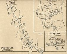 West Islip North Babylon Deer Park NY 1888 Map with Homeowners Names Shown