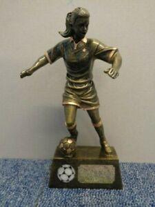 A1201C 22cm Female Pinnacle Football Trophy inc Engraved Plate & Football Centre