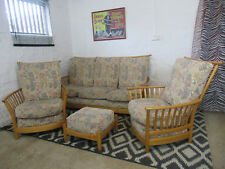 Ercol Renaissance Solid Ash Four Piece Suite - Sofa, Two Armchairs & Footstool