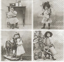 2 Serviettes en papier Fillettes Vintage Decoupage Paper Napkins Girls Sagen