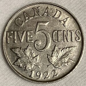 1922 Canada 5 Cents Coin ~ Better Date (L665)