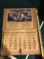 1949 Antique Hanover Pa Fuel Feed Supply Advertising Calendar