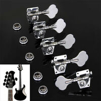 4X Right Electric Bass Guitar Chrome Tuning Pegs Tuner Machine Heads Tuning Keys