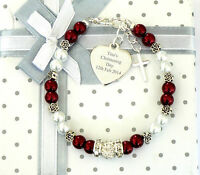 GIRLS PERSONALISED/ENGRAVED NAME BRACELET CHRISTENING/FIRST HOLY COMMUNION GIFT