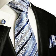 Krawatten Set 3tlg blau 100% SEIDE Paul Malone 718