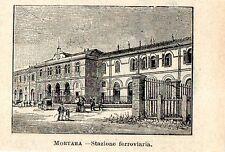 Stampa antica MORTARA veduta stazione ferrovia in miniatura Pavia 1905 Old print