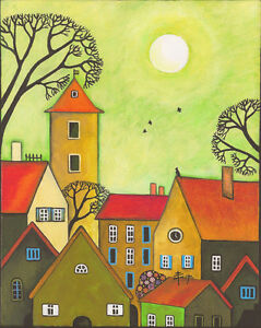 8x10 PRINT OF PAINTING RYTA ABSTRACT FOLK HOUSES FLOWERS BLACK CAT WHIMSICAL