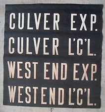 1930s BMT NYC New York Subway Sign Vellum Local Express CULVER WEST END Brooklyn