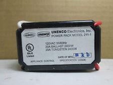 Hubbell UNENCO Power Pack 120 VAC 50/60Hz 20A Ballast Tungsten 2400W  211-1
