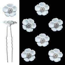6 épingles pics cheveux chignon mariage mariée fleur blanche mat cristal blanc