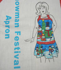 SNOWMAN FESTIVAL APRON FABRIC SEWING QUILT PANEL-HOLIDAY CHRISTMAS WINTER APRON