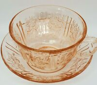 Vintage Sharon Cabbage Rose Pink Depression Glass Cup & Saucer Federal Glass