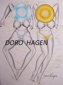 Doro Hagen Original Hand Zeichnung Öl auf Graphit 30 x 40 cm Papier Erotik Kunst
