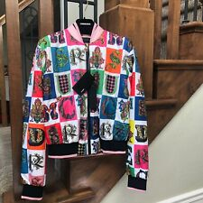 Authentic VERSACE Alphabet Print Bomber Jacket In Multi Color Size 38 NWT $2125