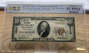 1929 $10 FRBN Shamokin, Pennsylvania PCGS AU 53 PPQ T-1 Fr 1801-1  B003157A