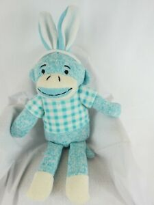 "Dan Dee Sock Monkey Plush Toy Blue 10"" Plaid Blue White Checkered Sweater EUC"