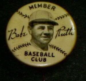 1934 Quaker Oats BABE RUTH Pin ANTIQUE Vintage Pinbacks New York Yankees