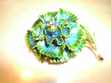 VINTAGE ART BLUE & GREEN ENAMEL FLOWER BROOCH PIN RHINESTONE CENTER STUNNING!!